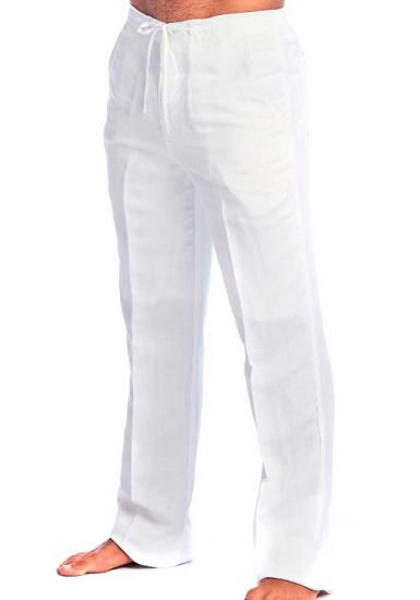 Drawstring Pants for Men. Linen Look. Runs One size Small. White Color.