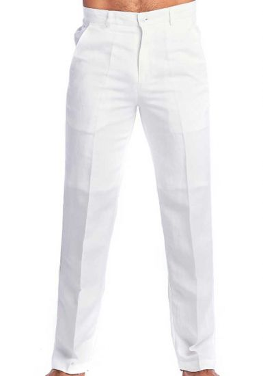 Flat Front Linen Look Pants. Wedding Dress Pants. Runs one Size Small. White Color.