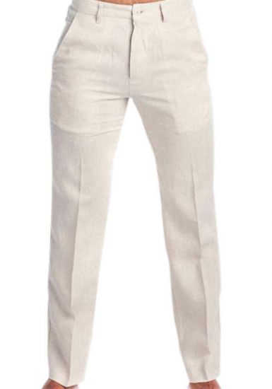 Linen Classic Pants For Men. Men's Resort Lounge 100% Linen Flat front Dress Pants. Runs Small. Natural Color.