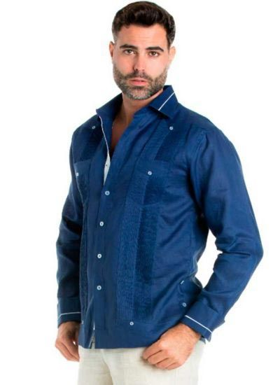 Linen Shirt Guayabera Long Sleeve Button Down with Piping Collar and Cuff Trim. Navy Color.