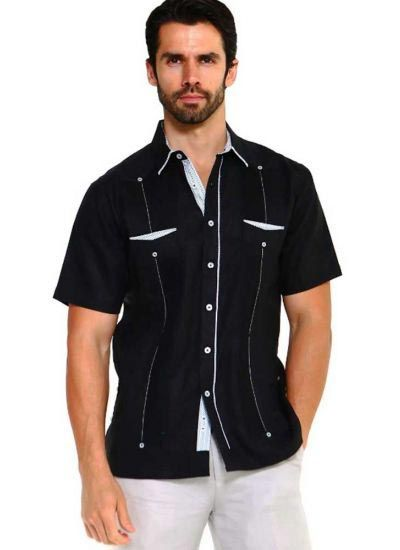 Men's Premium 100% Linen Guayabera Shirt Short Sleeve 2 Pockets Design with Contrast Print Trim. Black Color