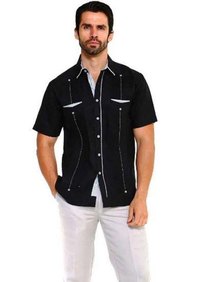 Men's Premium 100% Linen Guayabera Shirt Short Sleeve 2 Pockets Design with Contrast Print Trim. Black Color
