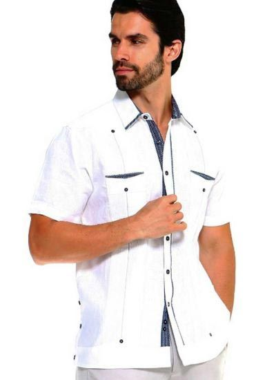 Men's Premium 100% Linen Guayabera Shirt Short Sleeve 2 Pockets Design with Contrast Print Trim. White Color
