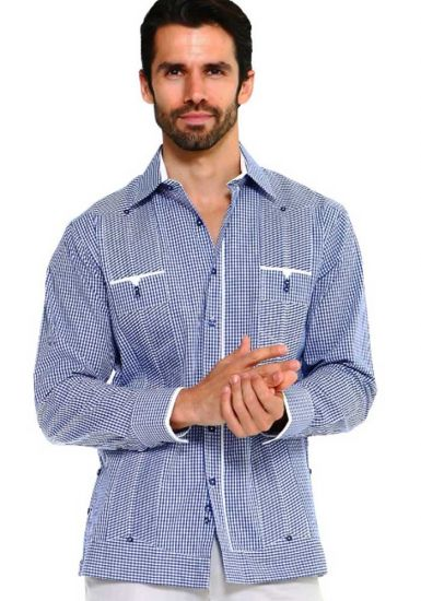 Men's Checker Print Guayabera. 100% Cotton. Shirt Long Sleeve. Navy Color.