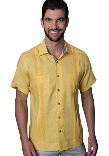 Guayabera Yellow Two Pockest. Short Sleeve. High Quality Linen. Back Orders or Demand.