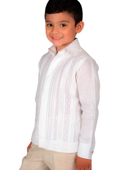 Deluxe Linen Guayabera. High Quality for Kids. 100% Linen. Long Sleeves. RUN SMALL. White Color. Back Orders or Demand.