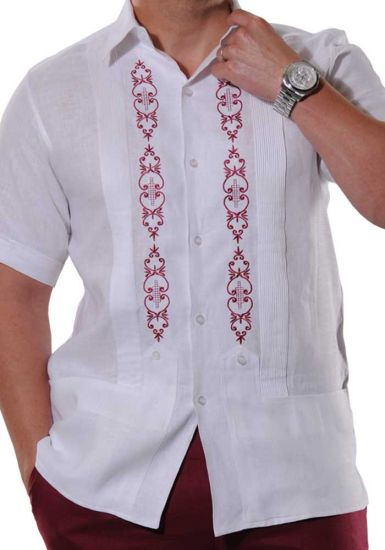 Guayabera Style. Exquisite Embroidery in Wine Color. Parties. Events and Festivities. Irish Linen. Back Orders or Demand.