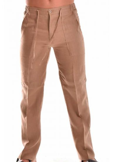 Drawstring Pants for Men Linen / Cotton. Light Brown Color.