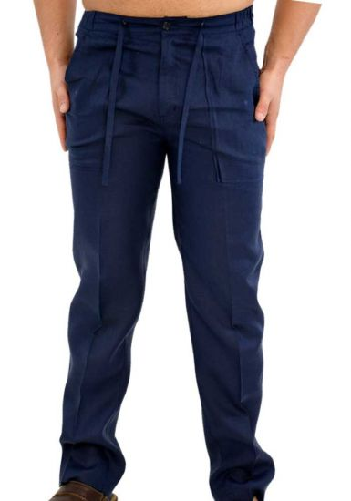Drawstring Pants for Men Linen / Cotton. Navy Color.