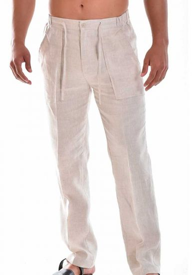 Drawstring Pants for Men Linen / Cotton. Natural Color.
