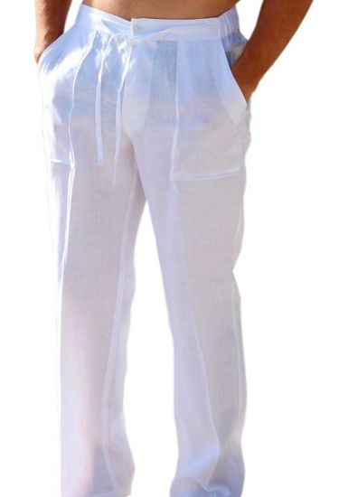 Drawstring Pants for Men Linen / Cotton. White Color.