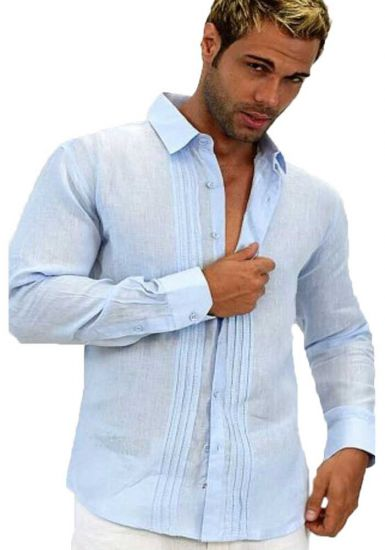 Linen Long Sleeve Pleats Shirt. Elegant.