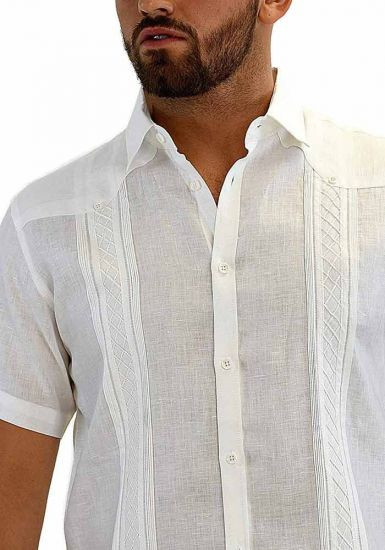 Linen Casual Shirt Short Sleeve for Men. White Color.