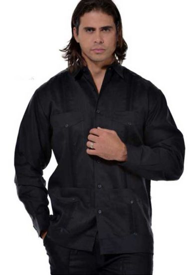Traditional Cuban Guayabera Regular Linen. Long Sleeve. Four Pockets. Cuban Party Guayabera. Black Color.