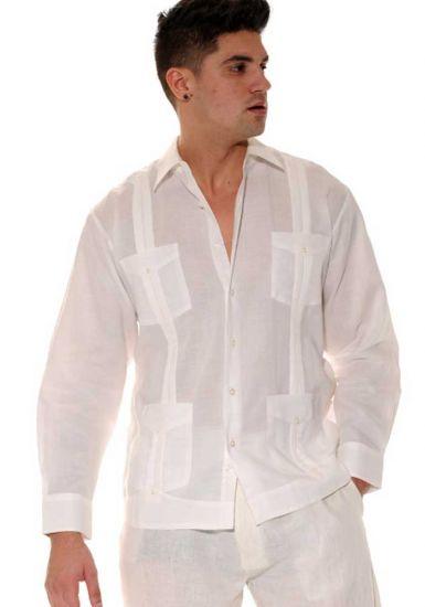 Traditional Cuban Guayabera Regular Linen. Long Sleeve. Four Pockets. Cuban Party Guayabera. Ivory Color.