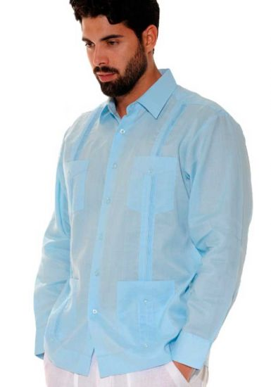 Traditional Cuban Guayabera Regular Linen. Long Sleeve. Four Pockets. Cuban Party Guayabera. Light Blue Color.