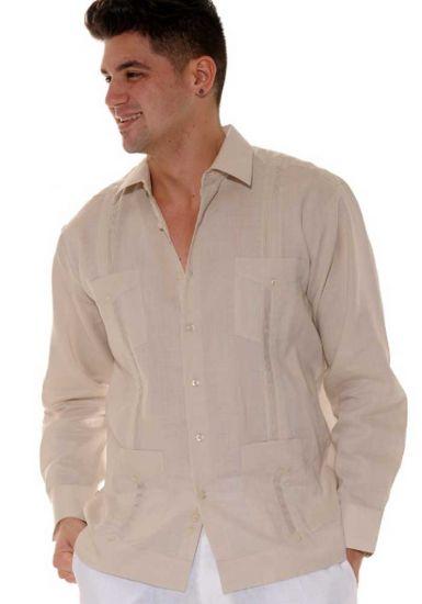 Traditional Cuban Guayabera Regular Linen. Long Sleeve. Four Pockets. Cuban Party Guayabera. Natural Color.