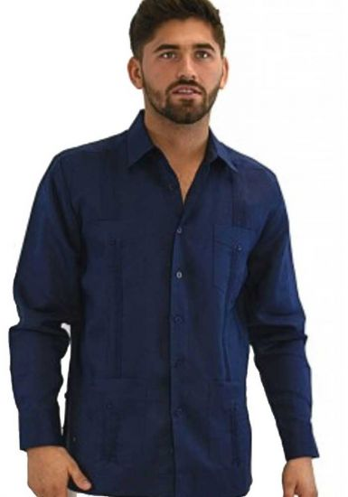 Traditional Cuban Guayabera Regular Linen. Long Sleeve. Four Pockets. Cuban Party Guayabera. Navy Color.