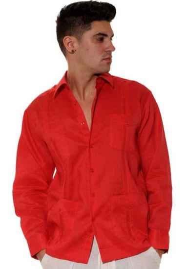 Traditional Cuban Guayabera Regular Linen. Long Sleeve. Four Pockets. Cuban Party Guayabera. Red Color.