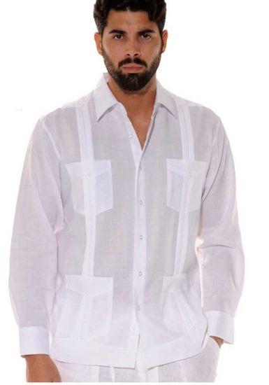 Traditional Cuban Guayabera Regular Linen. Long Sleeve. Four Pockets. Cuban Party Guayabera. White Color.
