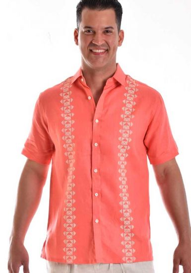 Men Bohio 100 % Linen Shirt. Printed. Short Sleeve Embroidered. Coral Color.
