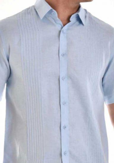 Linen 100% Casual Shirt Short Sleeve for Men. Light Blue Color.
