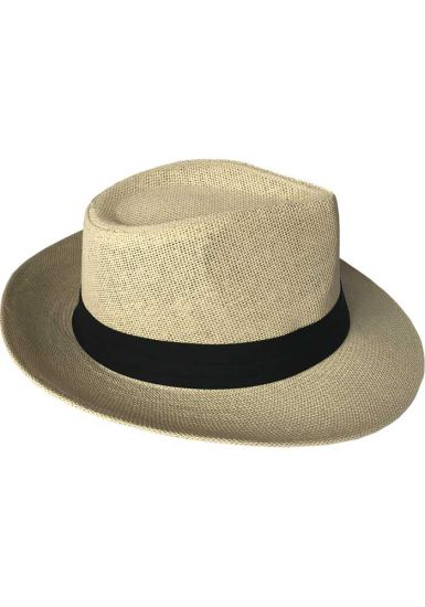 Summer Straw Structured Fedora Hat W/Cloth Band. Unisex ! Panama Hat Style. Beautiful Hat