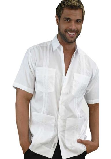 Poliester Guayabera men White Short sleeve