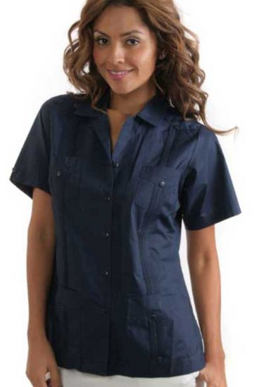 Guayaberas poliester navy blue ladies