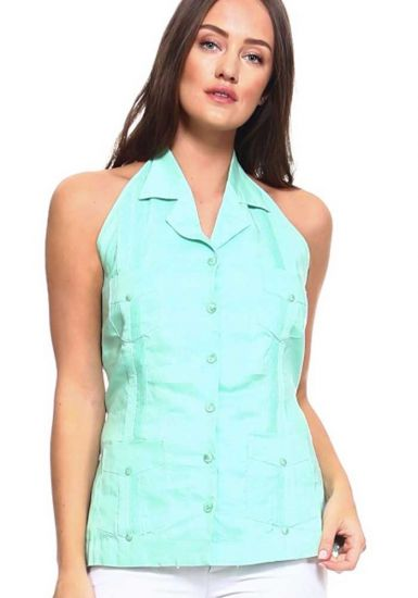 Sexy White Party Sexy Guayabera Halter Blouse for Ladies. Mint Color.