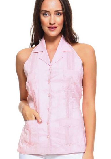 Sexy White Party Sexy Guayabera Halter Blouse for Ladies. Pink Color.