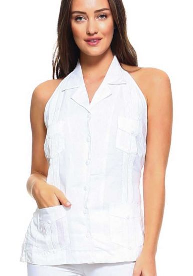 Sexy White Party Sexy Guayabera Halter Blouse for Ladies. White Color.