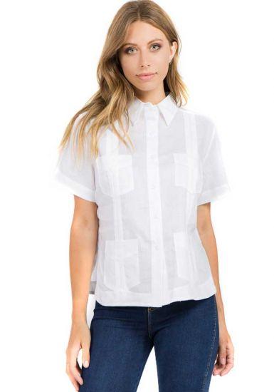 Guayabera Women. Short Sleeve Linen Guayabera for Ladies. Runs Big. White Color.