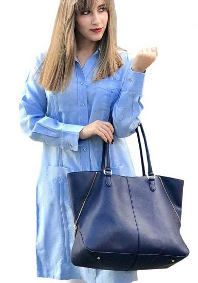 Guayabera For Ladies Long sleeve Dress Blue