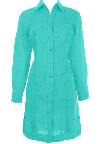 Irish Linen Ladies Guayabera Dress Long Sleeve. Good Quality Linen. Aqua Color.