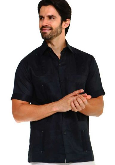 Traditional Guayabera Shirt Regular Linen.  Short Sleeve. Black Color.