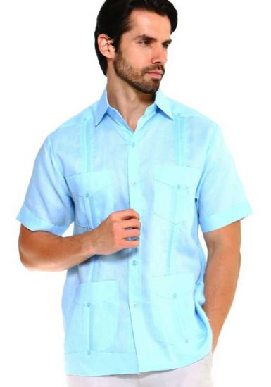 Traditional Guayabera Shirt Regular Linen. Short Sleeve. Light Blue Color.