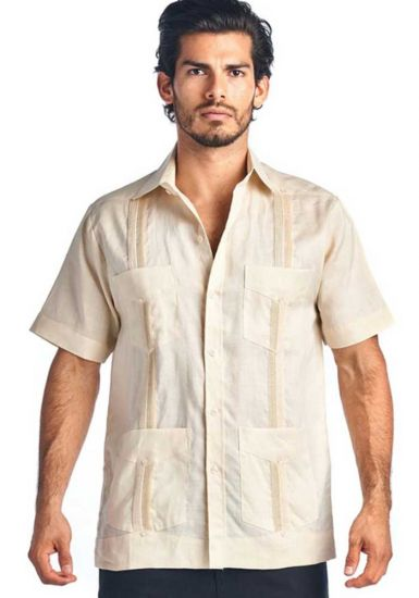 Traditional Guayabera Shirt Regular Linen.  Short Sleeve. Champagne Color.
