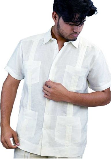 Traditional Guayabera Shirt Regular Linen.  Short Sleeve. Off-White Color.