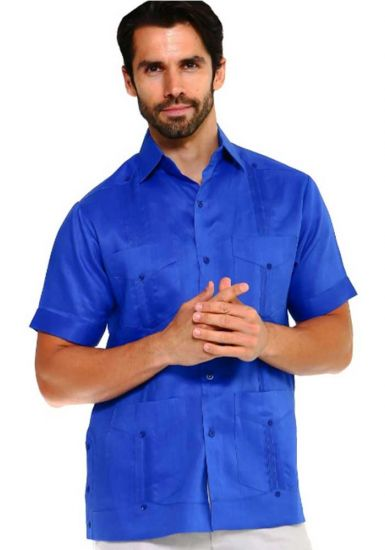 Traditional Guayabera Shirt Regular Linen. Short Sleeve. Royal Blue Color.