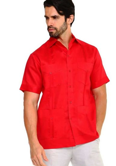 Traditional Guayabera Shirt Regular Linen. Short Sleeve. Red Color.
