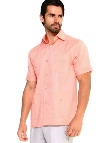 Traditional Guayabera Shirt Regular Linen. Short Sleeve. Salmon Color.