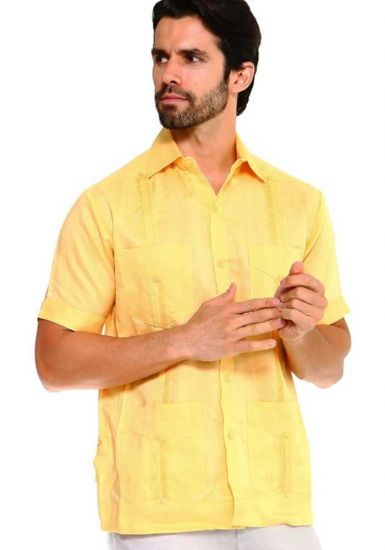 Traditional Guayabera Shirt Regular Linen.  Short Sleeve. Yellow Color.
