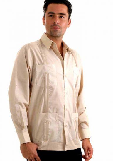 Traditional Guayabera Shirt Regular Linen. Long Sleeve. Beige