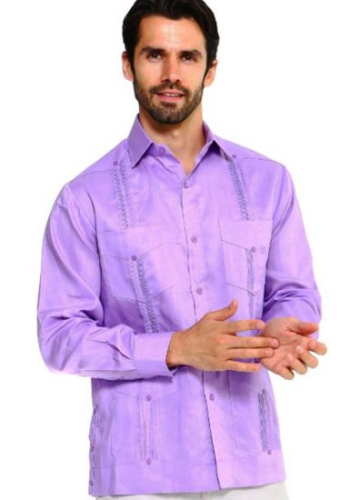 Traditional Guayabera Shirt Regular Linen Long Sleeve. Lavender Color.
