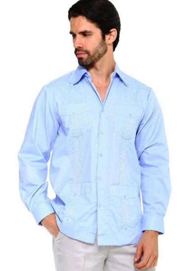 Traditional Guayabera Shirt Regular Linen Long Sleeve. Light Blue Color.
