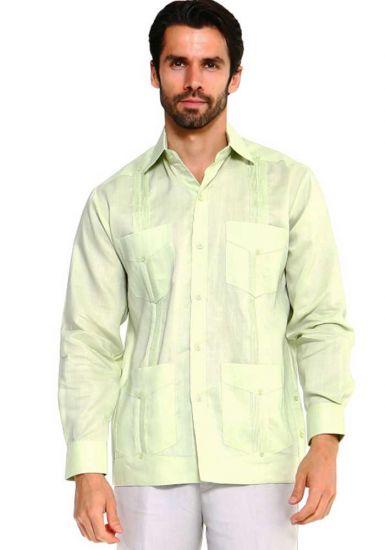 Traditional Guayabera Shirt Regular Linen Long Sleeve. Mint Color.