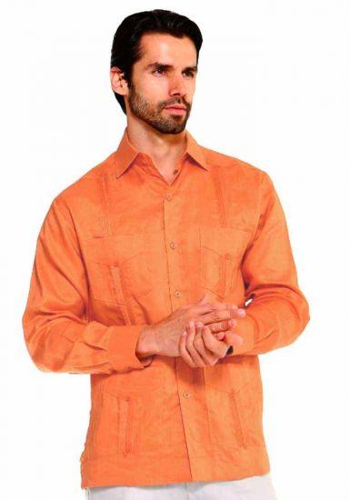 Traditional Guayabera Shirt Regular Linen Long Sleeve. Peach Color.