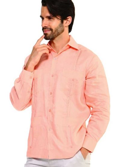 Traditional Guayabera Shirt Regular Linen Long Sleeve. Salmon Color.