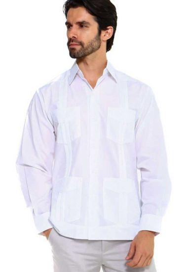 Traditional Guayabera Shirt Regular Linen Long Sleeve. White Color.